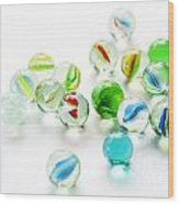 Isolated Marbles Wood Print