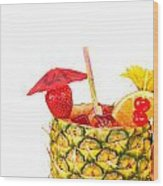 Isolated Tropical Drink Wood Print