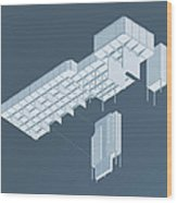 Isometric Council Chambers Wood Print by Peter Cassidy