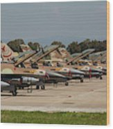 Israeli Air Force F-16`s Of Three Wood Print