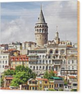 Istanbul Cityscape And Galata Tower Wood Print