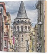 Istanbul Galata Tower Wood Print by Antony McAulay