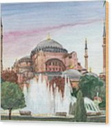 Istanbul Mosque Watercolor Painting Wood Print