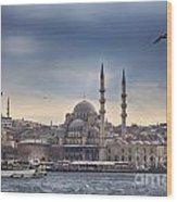 Istanbul Skyline Wood Print