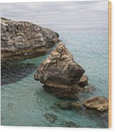It Rocks 2 - Close To Son Bou Beach And San Tomas Beach Menorca Scupted Rocks And Turquoise Water Wood Print