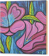 It Was Pink And Blue Wood Print