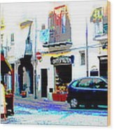 Italian City Street Scene Digital Art Wood Print