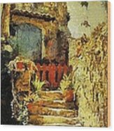 Italian Courtyard Wood Print