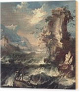 Italian Seascape With Rocks And Figures Wood Print