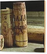 Italian Wine Corks Wood Print