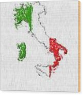 Italy Painted Flag Map Wood Print