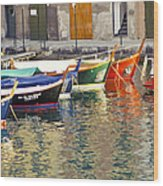 Italy Portofino Colorful Boats Of Portofino Wood Print