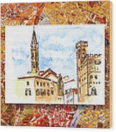 Italy Sketches Florence Towers Wood Print