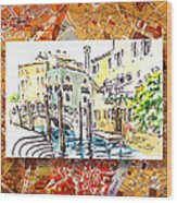 Italy Sketches Venice Canale Wood Print