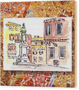 Italy Sketches Venice Piazza Wood Print