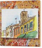 Italy Sketches Venice Via Nuova Wood Print