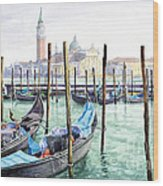 Italy Venice Gondolas Parked Wood Print