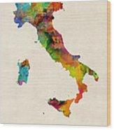 Italy Watercolor Map Italia Wood Print