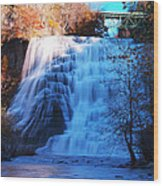 Ithaca Water Falls New York Panoramic Photography Wood Print