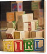 Its A Girl - Alphabet Blocks Wood Print
