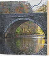 It's Autumn At The Valley Green Bridge Wood Print