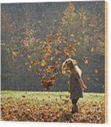 It's Raining Leaves Wood Print