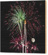 Its Raining Red Drops On The Red Flowers - Fireworks And Moon Wood Print