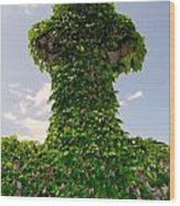 Ivy Covered Cross Wood Print