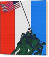Iwo Jima 20130210 Red White Blue Wood Print