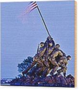 Iwo Jima Memorial At Dusk Wood Print
