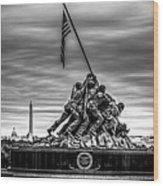 Iwo Jima Monument Black And White Wood Print