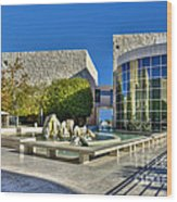 J. Paul Getty Museum Courtyard Fountains Blue Veined Marble Boulders Sculpture Wood Print