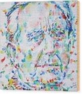 J. R. R. Tolkien - Watercolor Portrait Wood Print