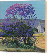 Jacaranda Holy Ghost Church In Kula Maui Hawaii Wood Print