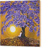 Jacaranda Sunset Meditation Wood Print