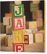Jake - Alphabet Blocks Wood Print