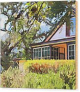 Jack London Countryside Cottage And Garden 5d24570 Long Wood Print by Wingsdomain Art and Photography