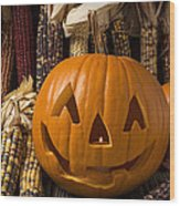 Jack-o-lantern And Indian Corn  Wood Print