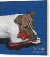Jack Russell With A Red Bandana Wood Print
