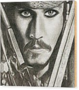 Jack Sparrow Wood Print by Michael Mestas