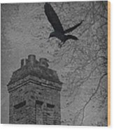 Jackdaw Flying To Chimney Wood Print