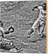 Jackie Robinson Stealing Home Wood Print