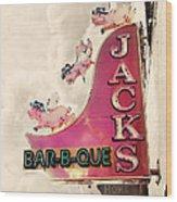 Jacks Bbq Wood Print by Amy Tyler