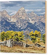 Jackson Hole Wood Print by Kathleen Bishop