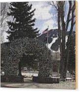 Jackson Hole Wyoming Antler Arch Wood Print