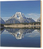 Jackson Lake Reflection Wood Print