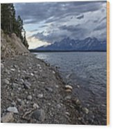 Jackson Lake Shore With Grand Tetons Wood Print