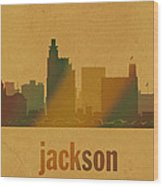 Jackson Mississippi City Skyline Watercolor On Parchment Wood Print
