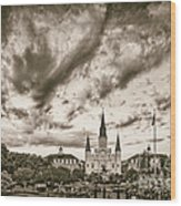 Jackson Square And St. Louis Cathedral In Black And White - New Orleans Louisiana Wood Print