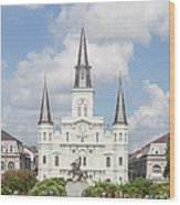 Jackson Square Cathedral Wood Print by Kay Pickens